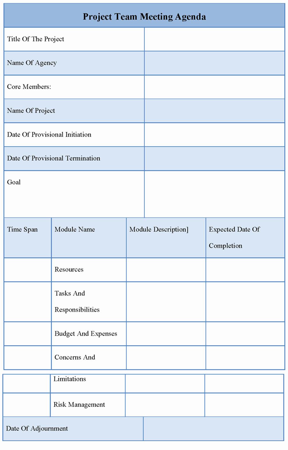 9 Best Of Team Meeting Agenda Template Team