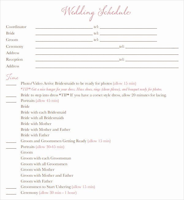 9 Best Of Wedding Schedule Free Download Printable