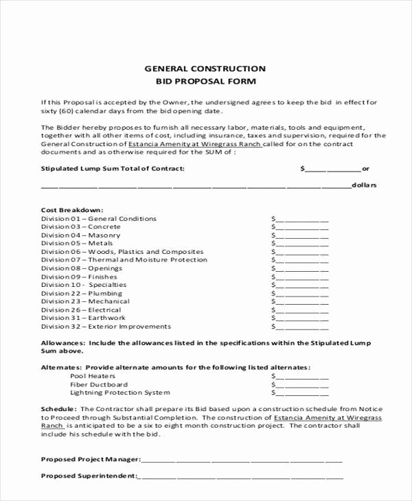 sample bid proposal form