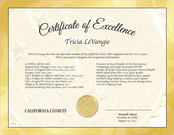 9 Certificate Of Excellence Templates – Samples Examples