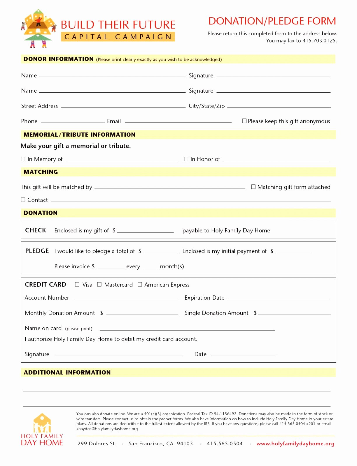 9 Charity Pledge form Template Dtauw