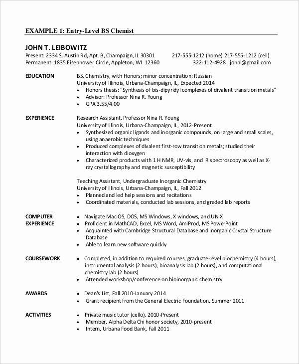 9 Chemical Engineering Resume