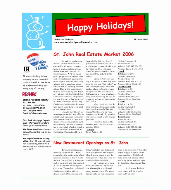 9 Christmas Newsletter Templates – Free Sample Example