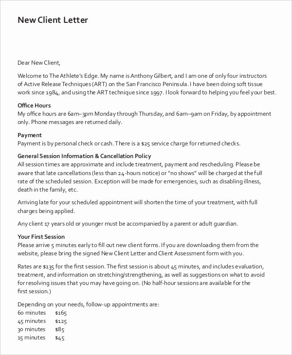 9 Client Letter Templates Free Sample Example format