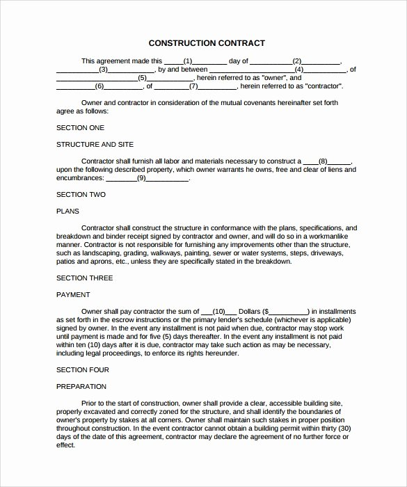 9 Construction Contract Templates – Pdf Word Pages