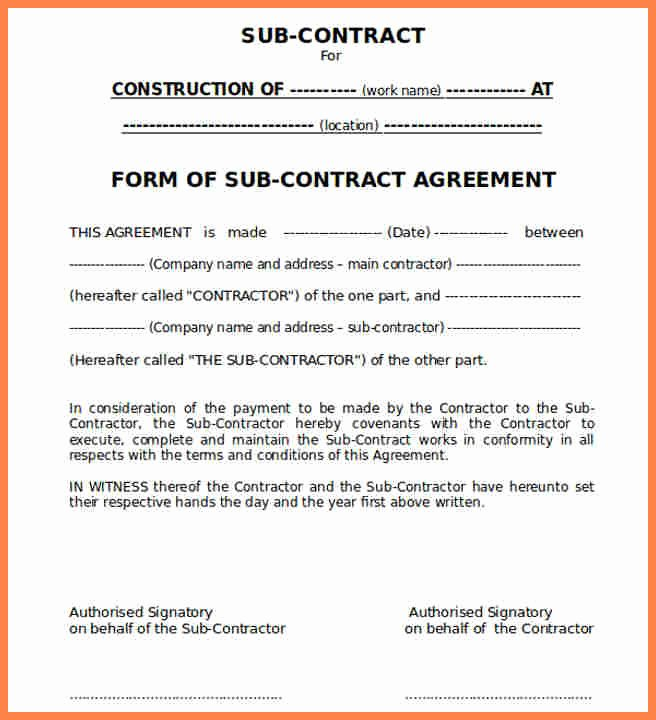 9 Construction Subcontractor Agreement Template
