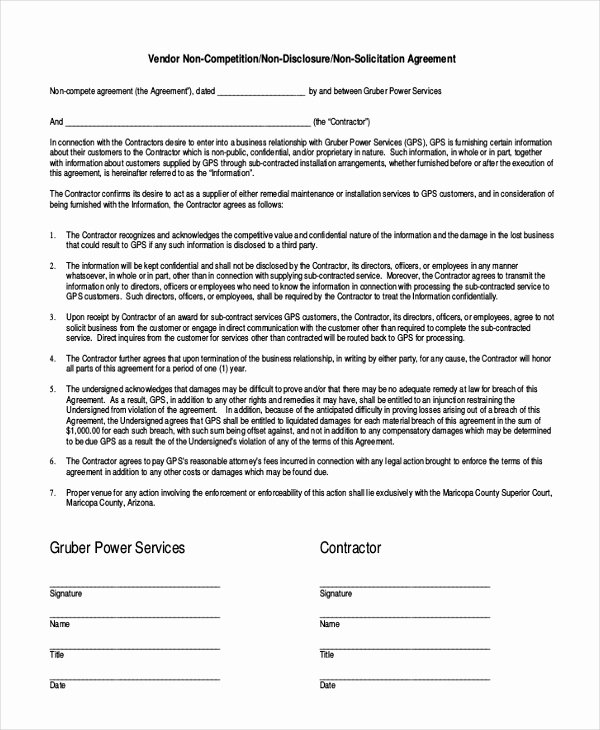 9 Contractor Non Pete Agreement Templates Free