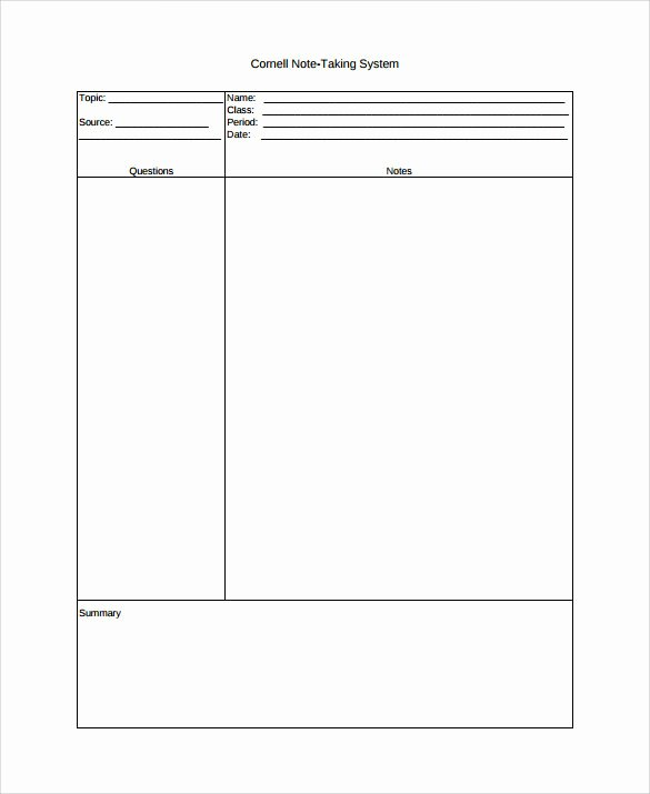 9 Cornell Note Taking Templates