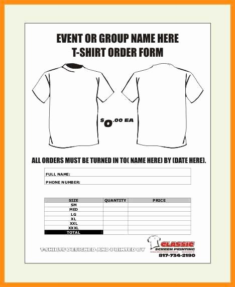 9 Custom T Shirt order form Template