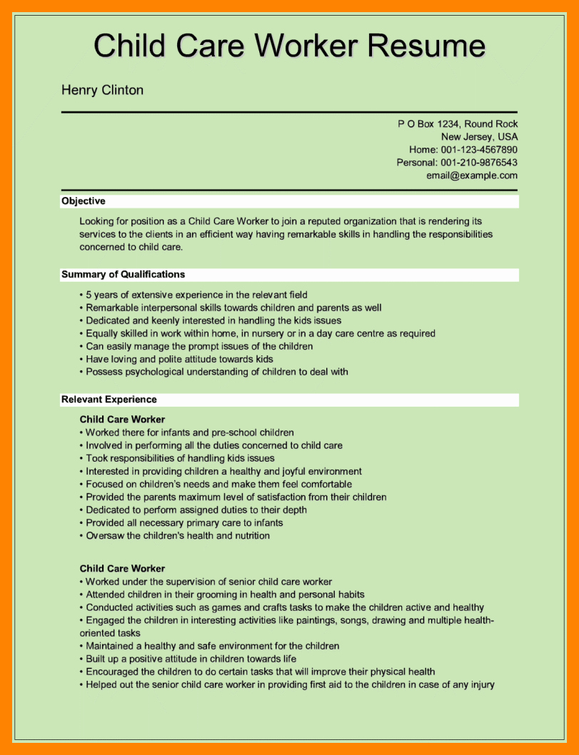 9 Daycare Worker Resume