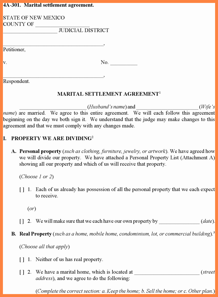 9 Divorce Settlement Agreement Template
