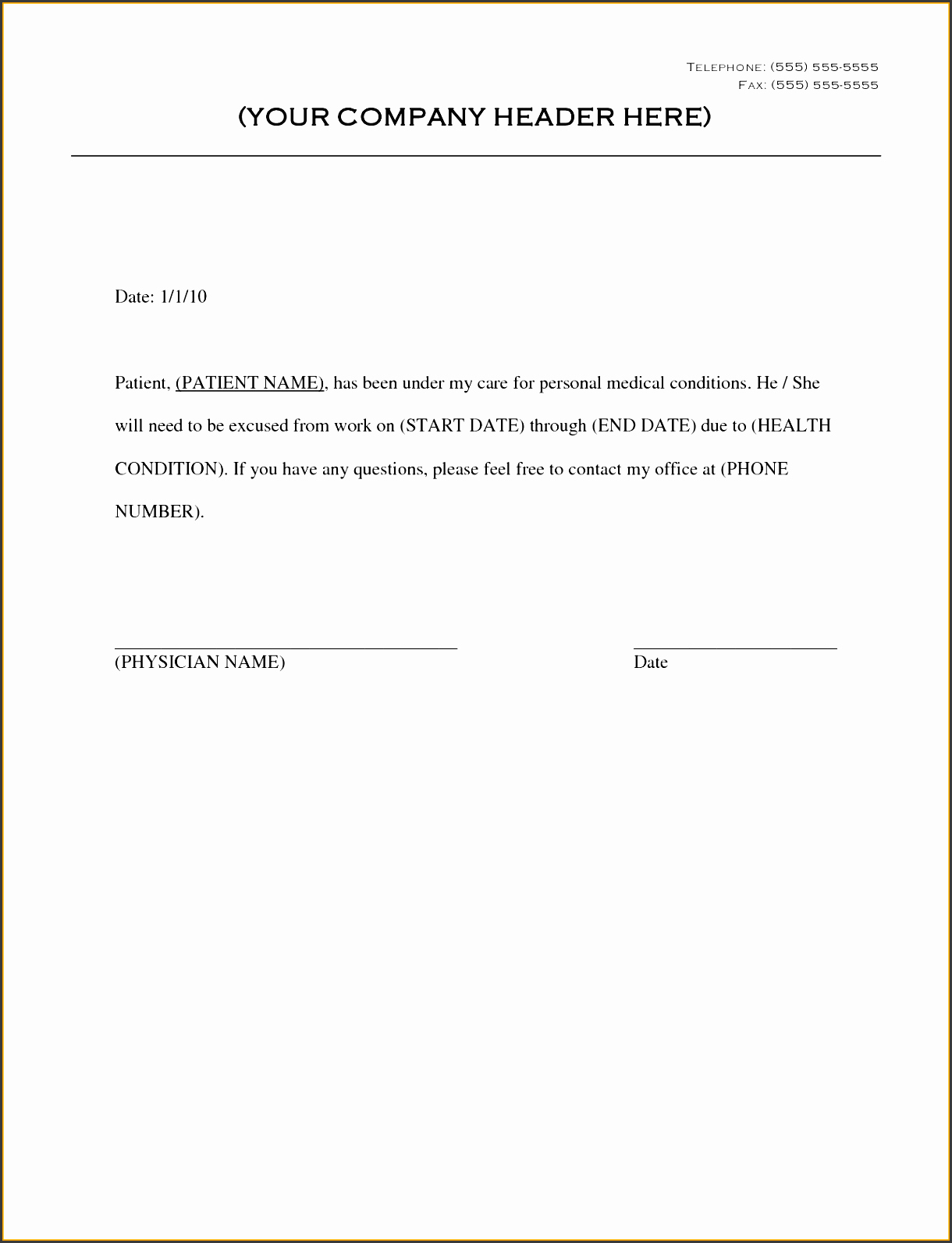 9 Doctor Note Template for Business Sampletemplatess