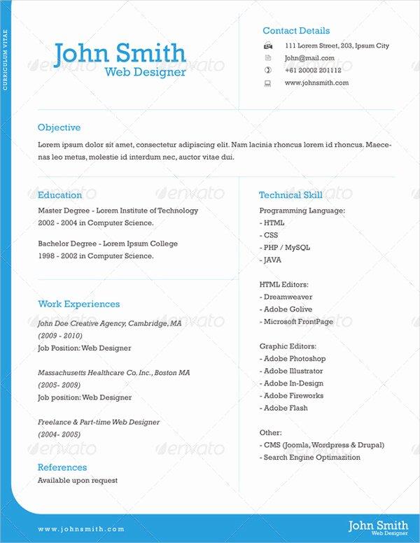 9 E Page Resume Templates