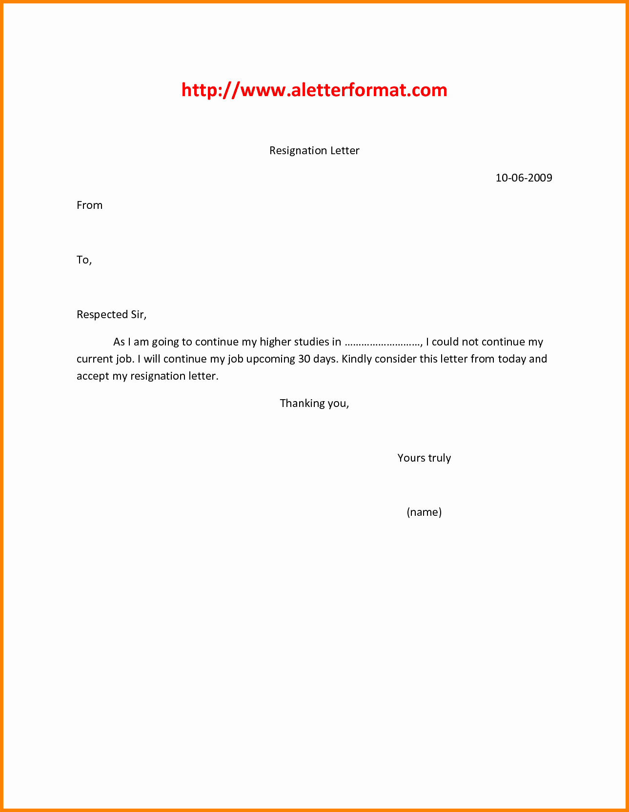 9 Easy Resignation Letter Template