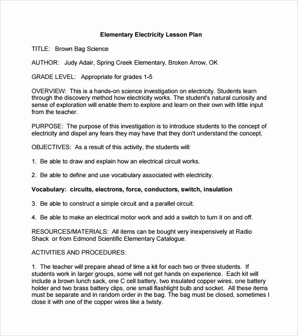 9 Elementary Lesson Plan Samples