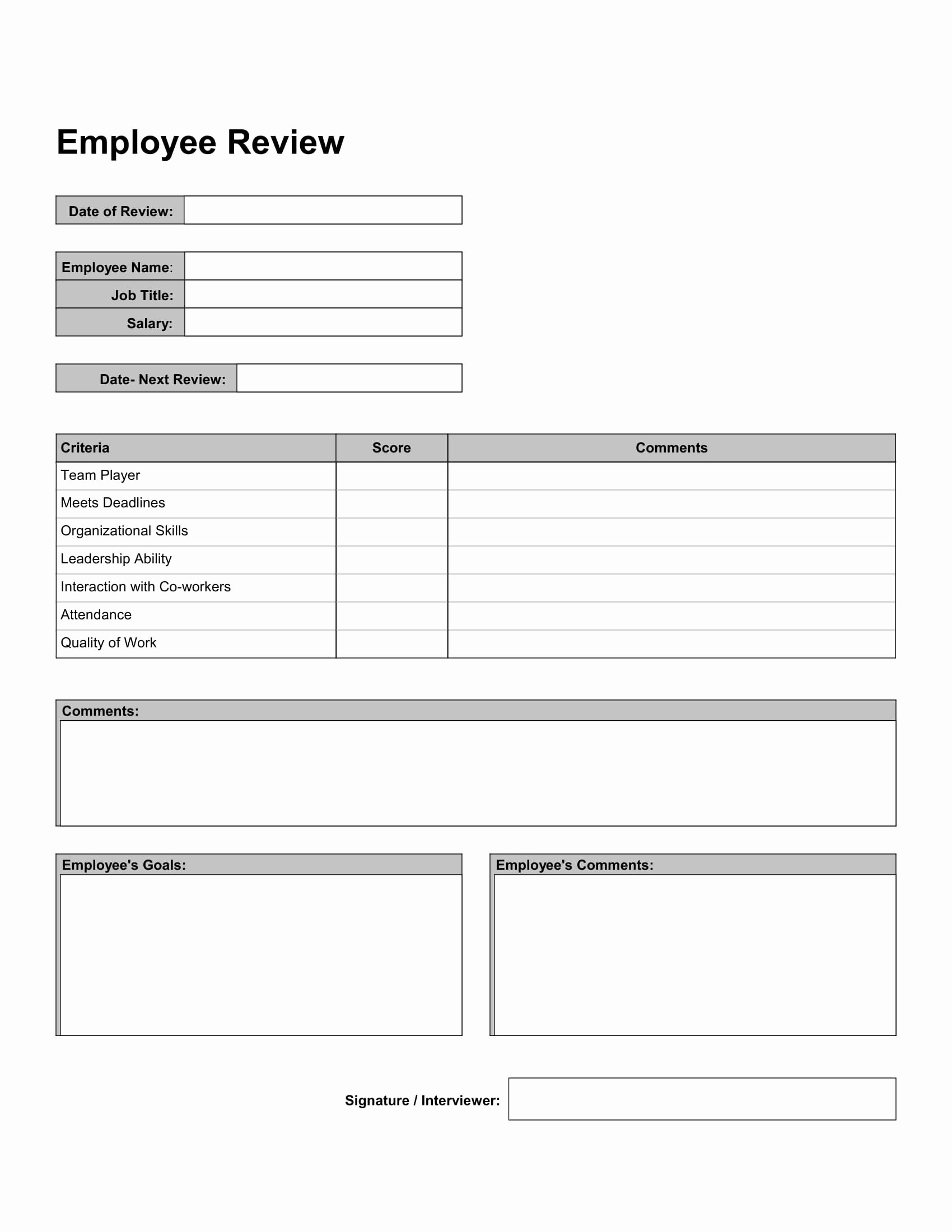 9 Employee Self Reviews forms Free Word Pdf format
