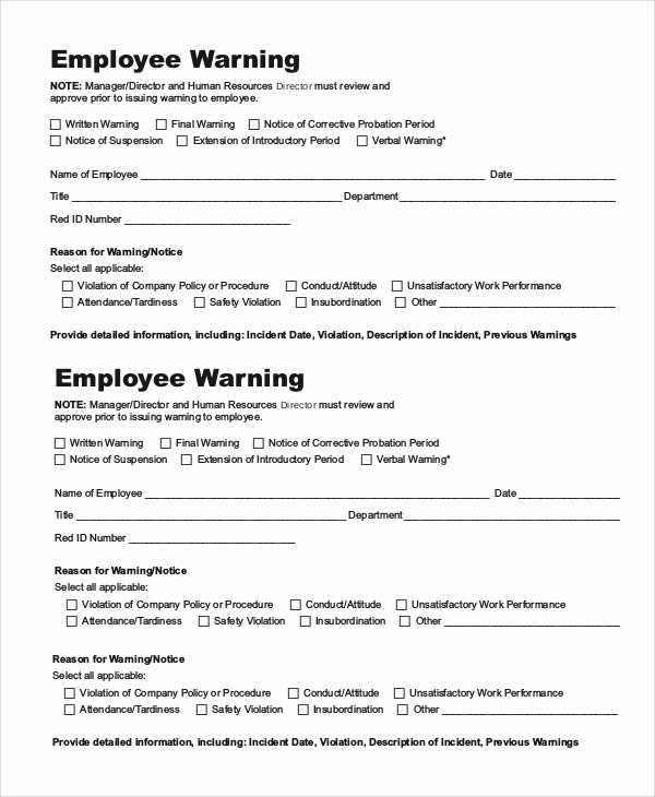 9 Employee Warning Notice Samples