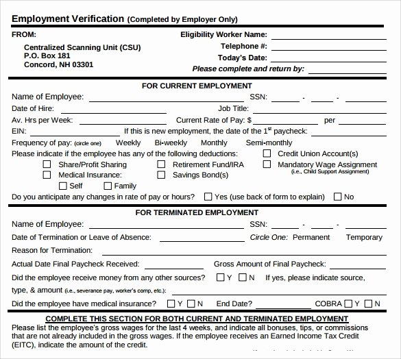 9 Employment Verification form Download for Free