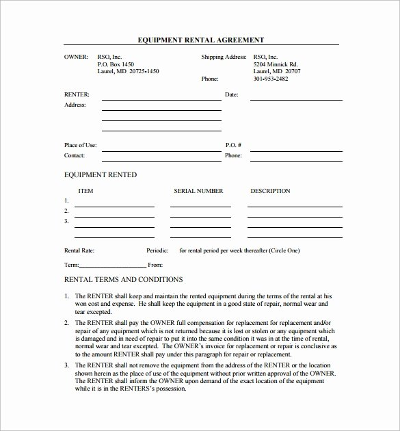 9 Equipment Lease Agreement Templates