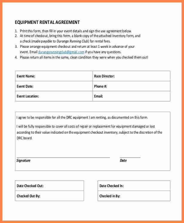 9 equipment rental agreement form template