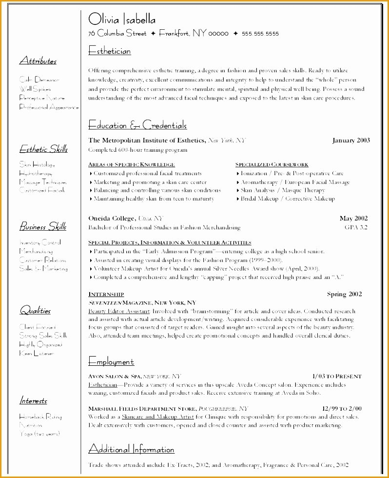 9 Esthetician Resume Template Free Samples Examples