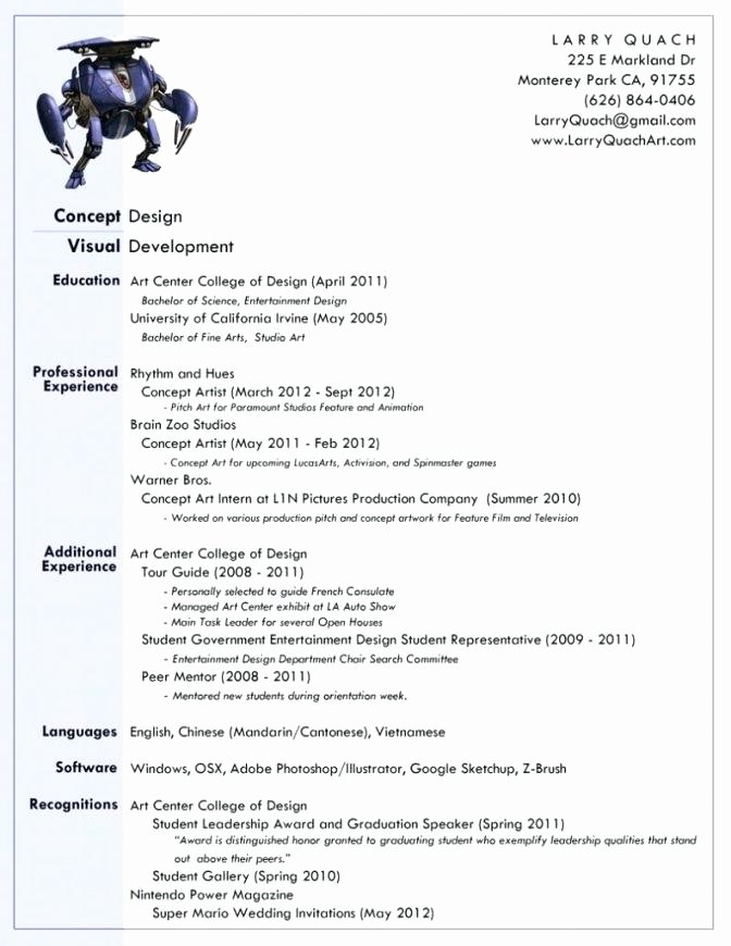 9 Example Of Artist Resume