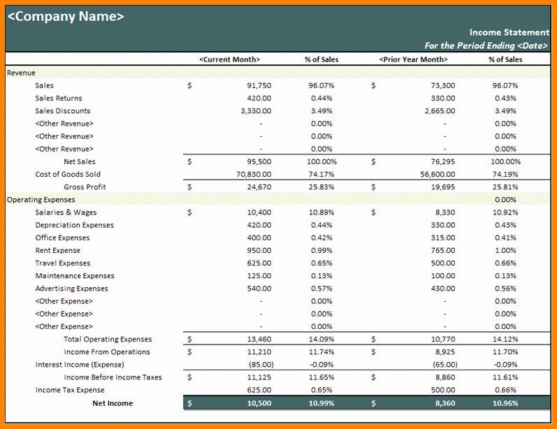 9 Excel Financial Statement Template