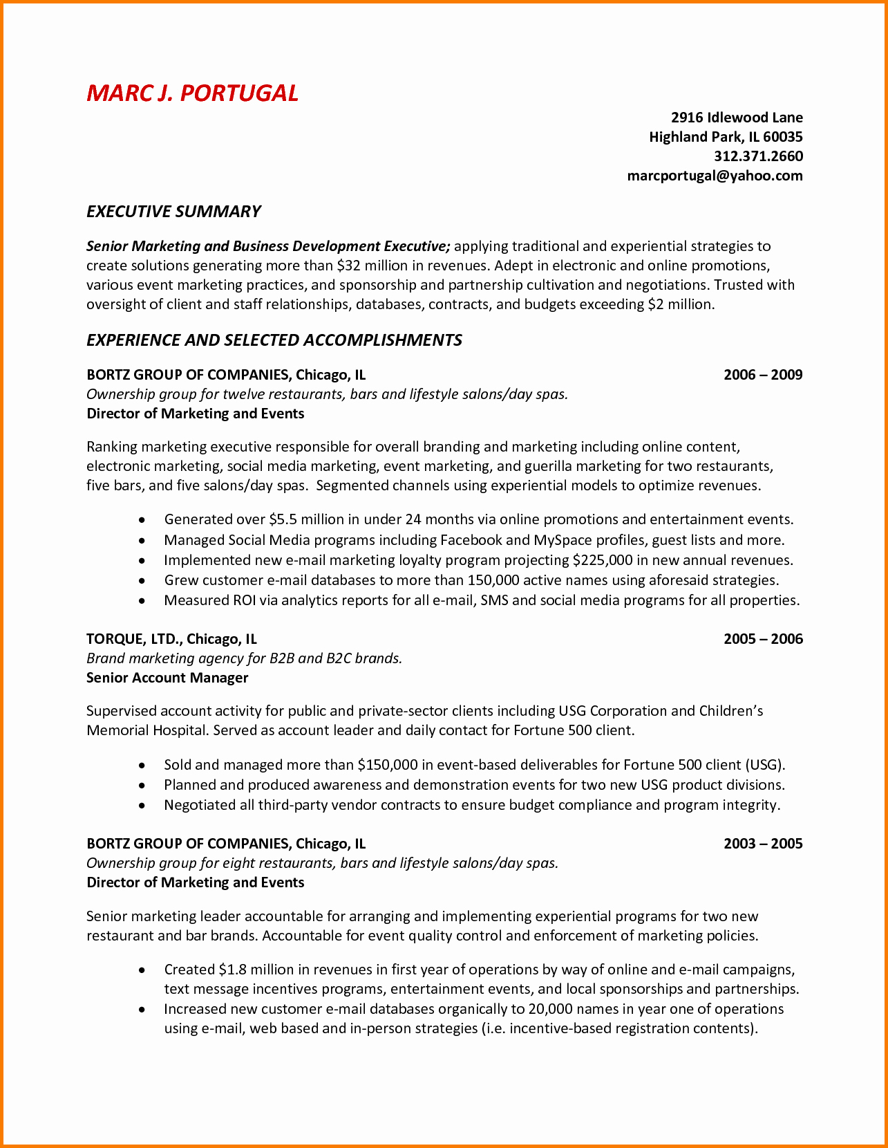 9 Executive Summary Sample