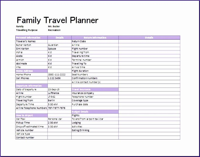 9 Flight Itinerary Template Excel Exceltemplates