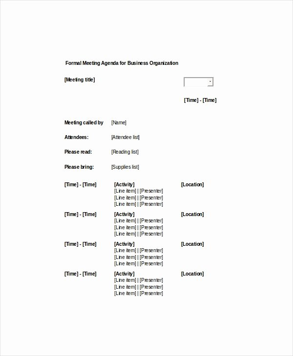 9 formal Meeting Agenda Templates Pdf Doc