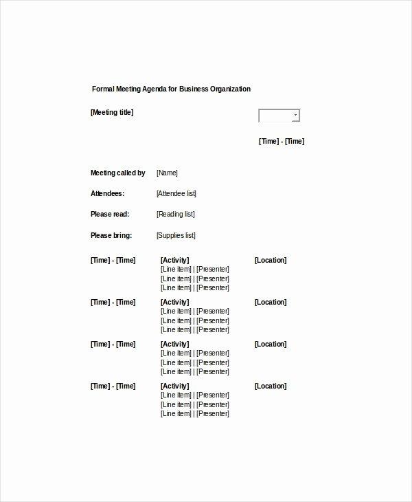 9 formal Meeting Agenda Templates Pdf Doc