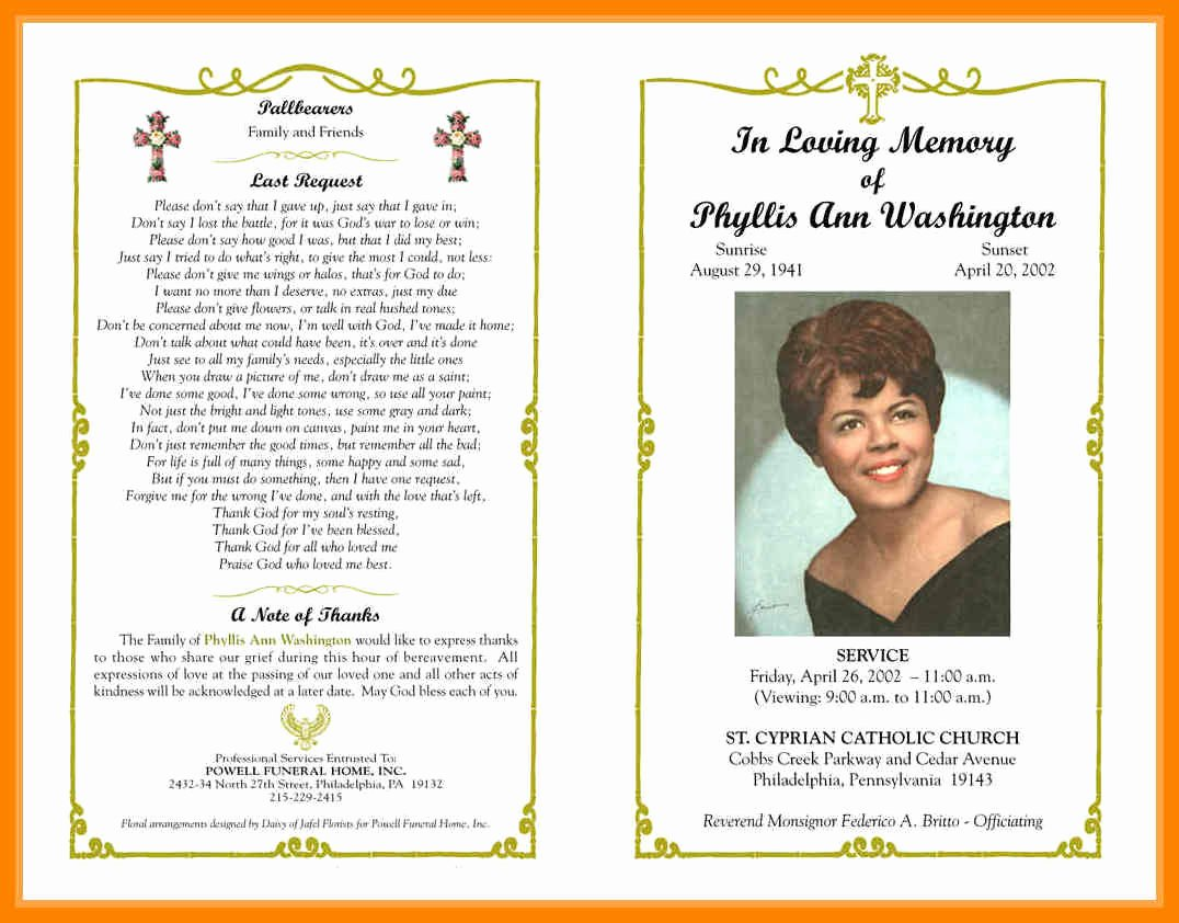 9 Free Obituary Program Templates
