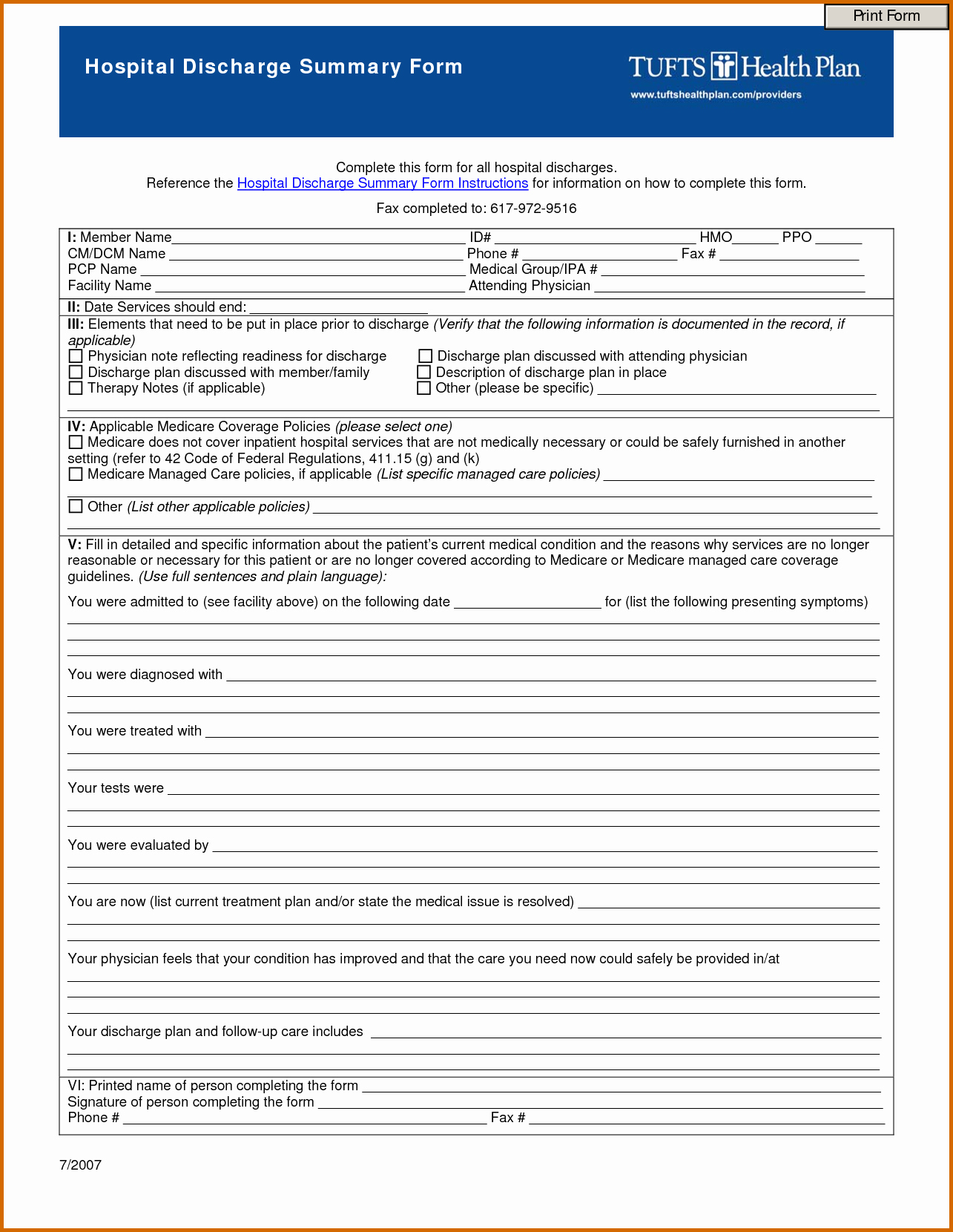 9 Free Printable Hospital Discharge Papers