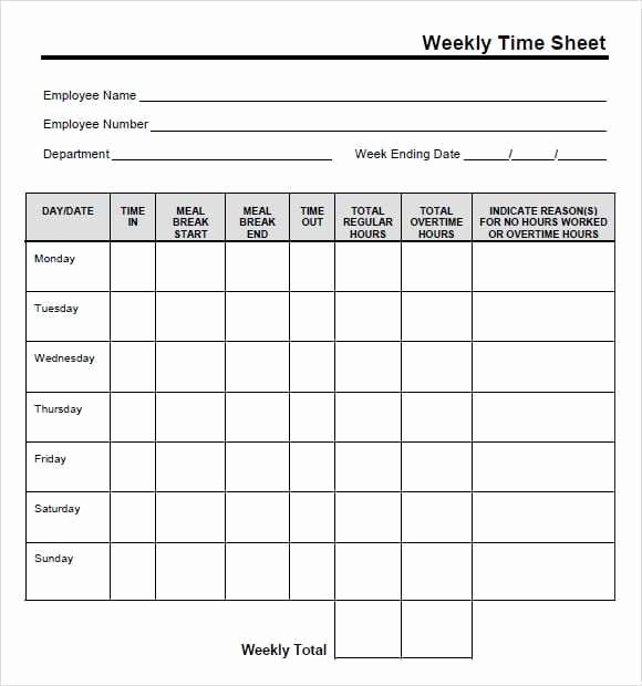 9 Free Printable Time Cards Templates Excel Templates