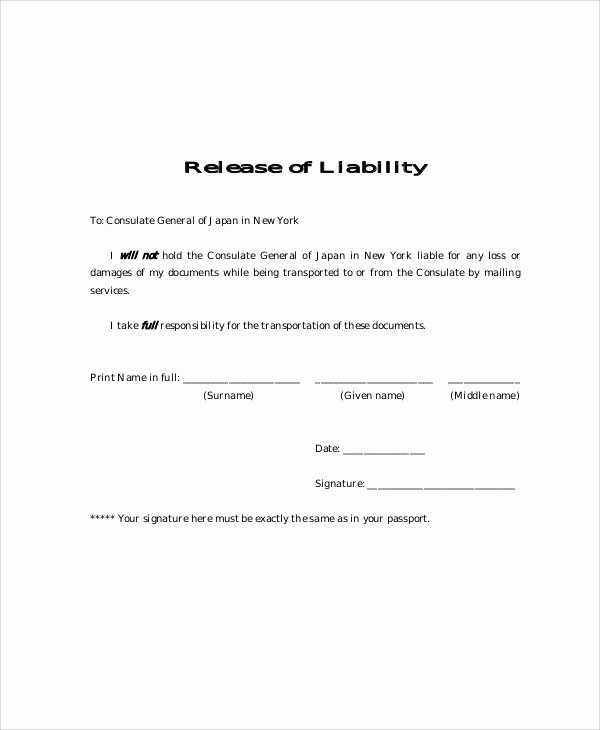 9 Free Release Of Liability form Samples