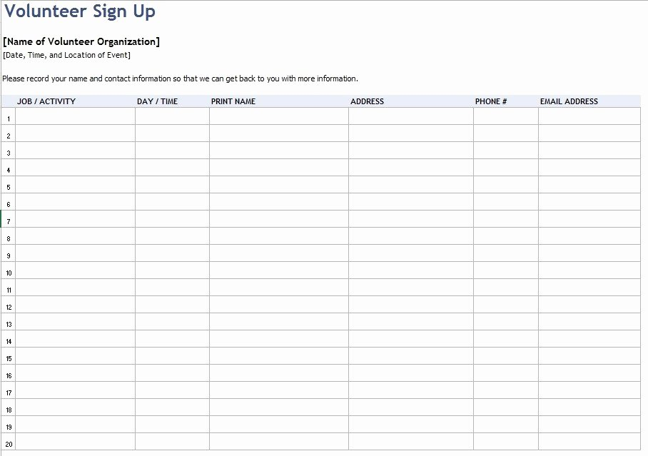 9 Free Sample Volunteer Sign Up Sheet Templates