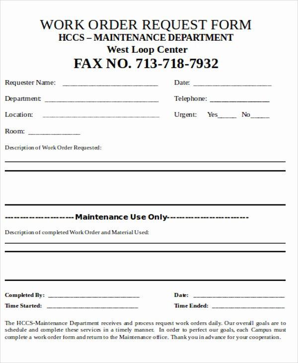 9 Free Sample Work order forms
