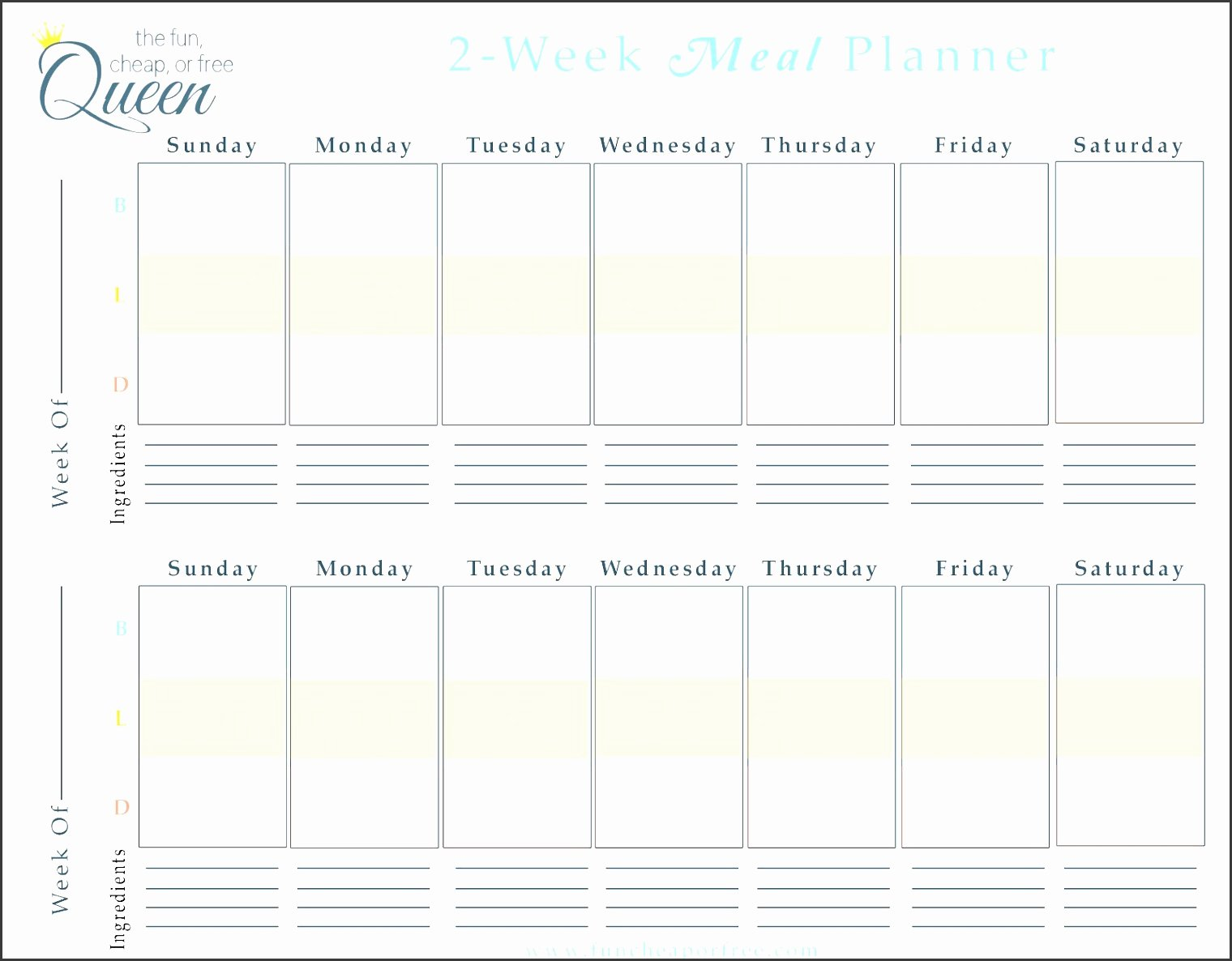 9 Free Weekly Meal Planner Layout In Excel format