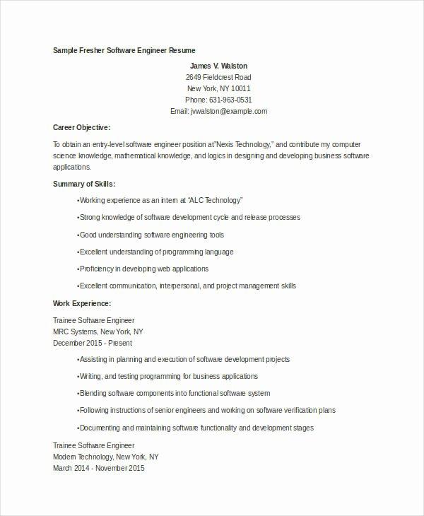 9 Fresher Engineer Resume Templates Pdf Doc