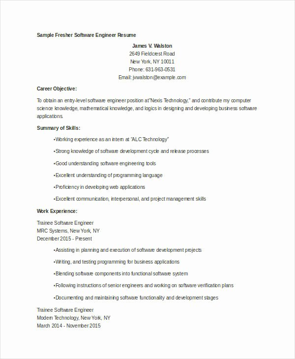 9 Fresher Engineer Resume Templates Pdf Doc