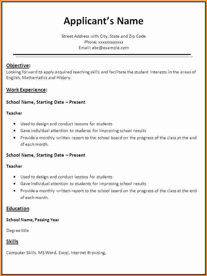 9 Fresher Teacher Resume format In Word