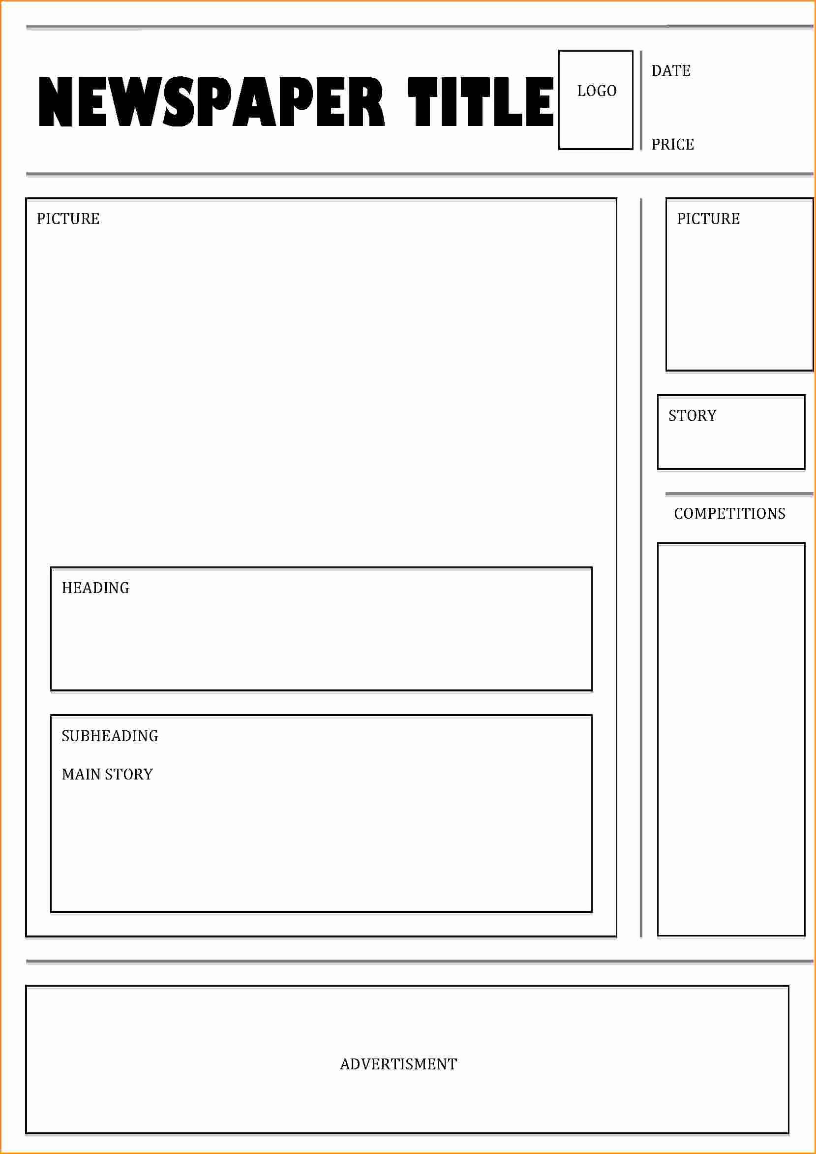 9 Front Page Newspaper Article Template
