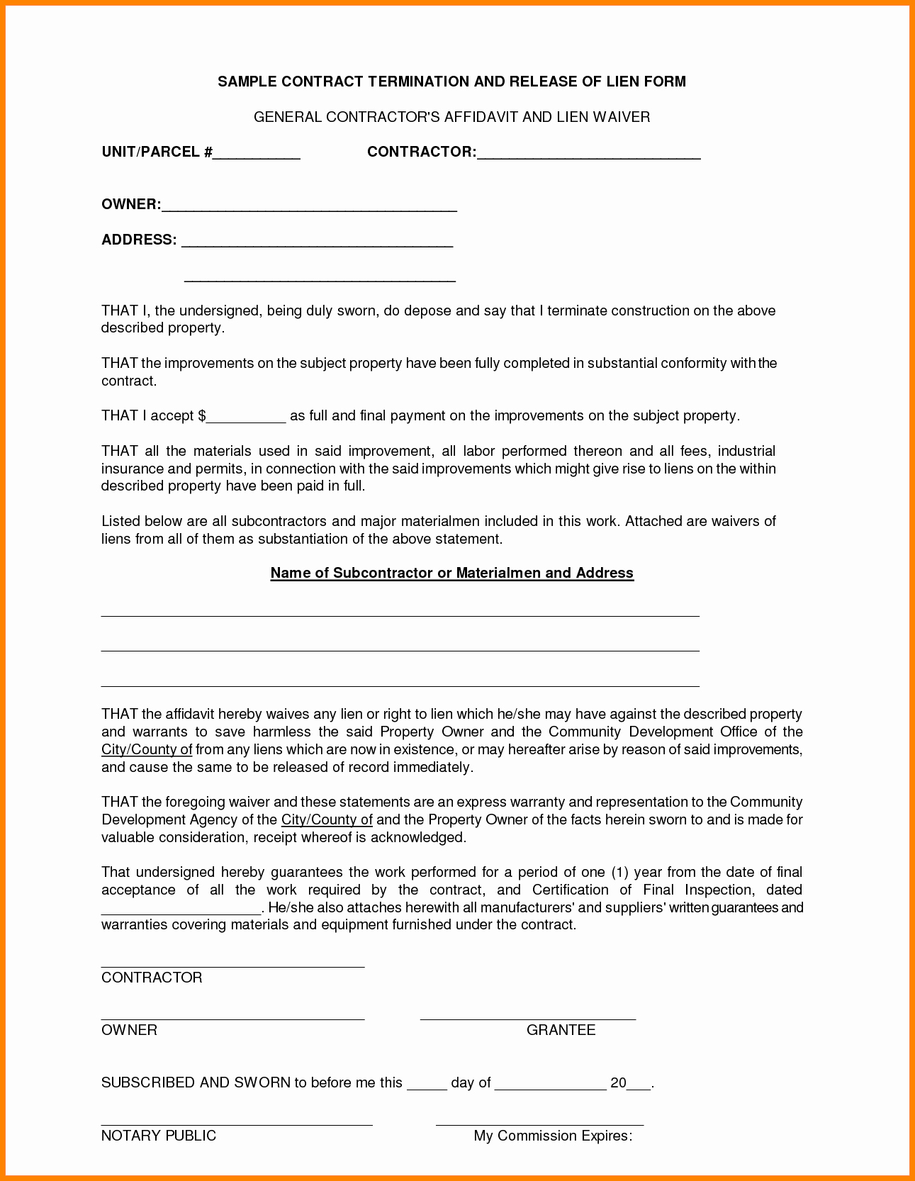 9 General Contractors Contract Template
