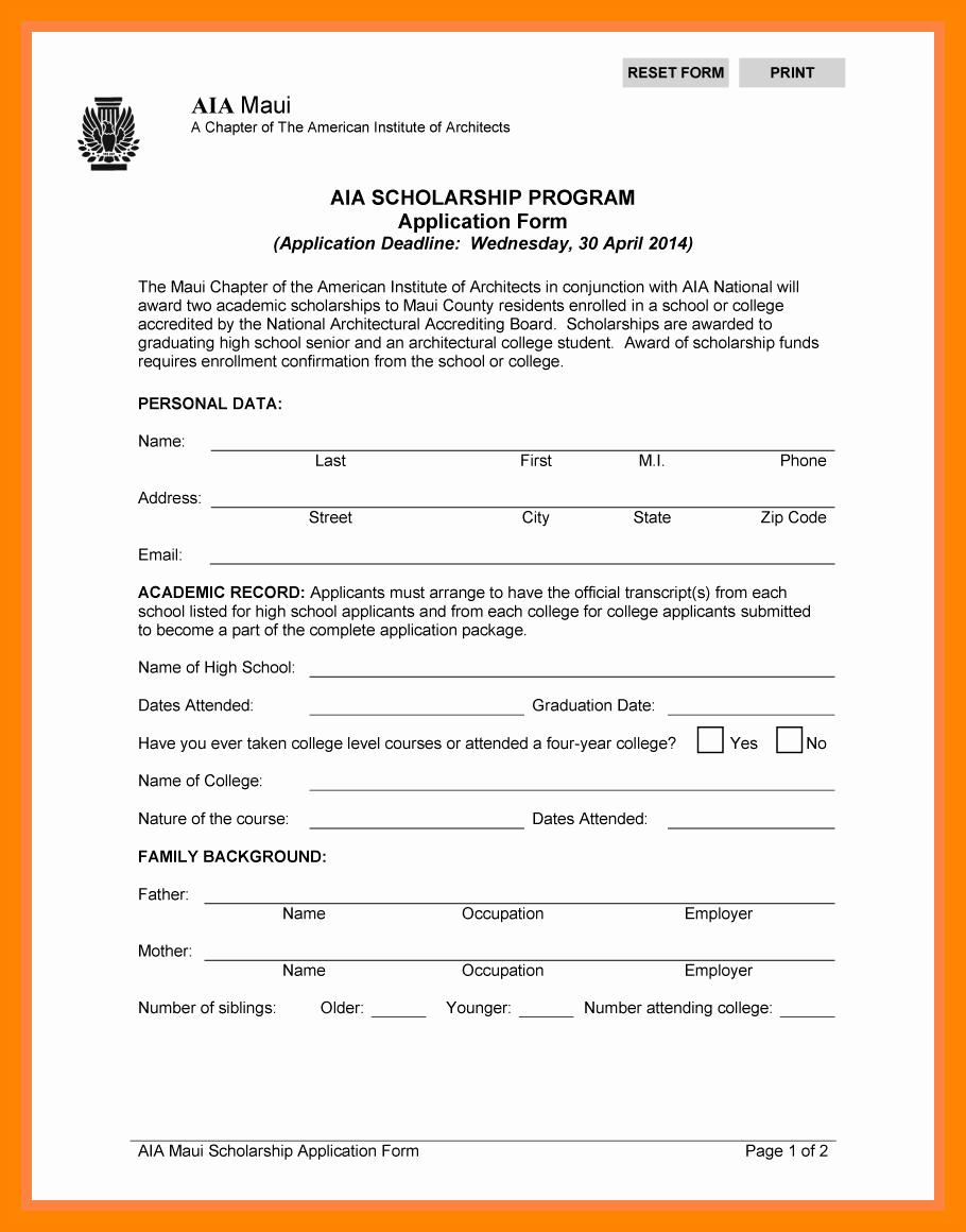 9 High School Scholarship Application Template