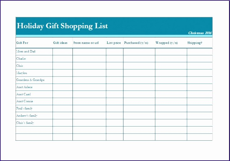 9 Holiday Shopping Bud Template Exceltemplates