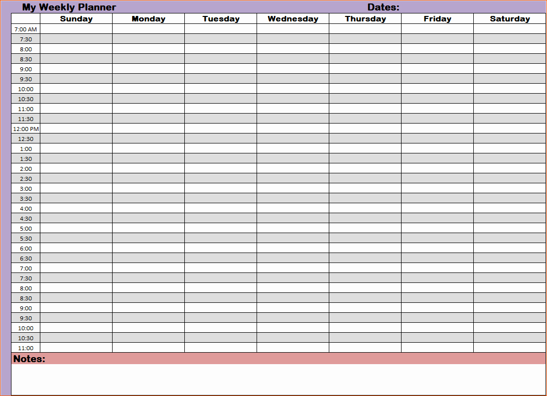 9 Hourly Planners