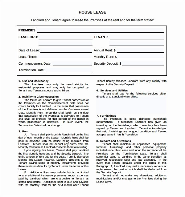 9 House Lease Agreement Templates