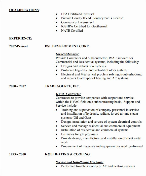 9 Hvac Resume Templates – Free Samples Examples & format