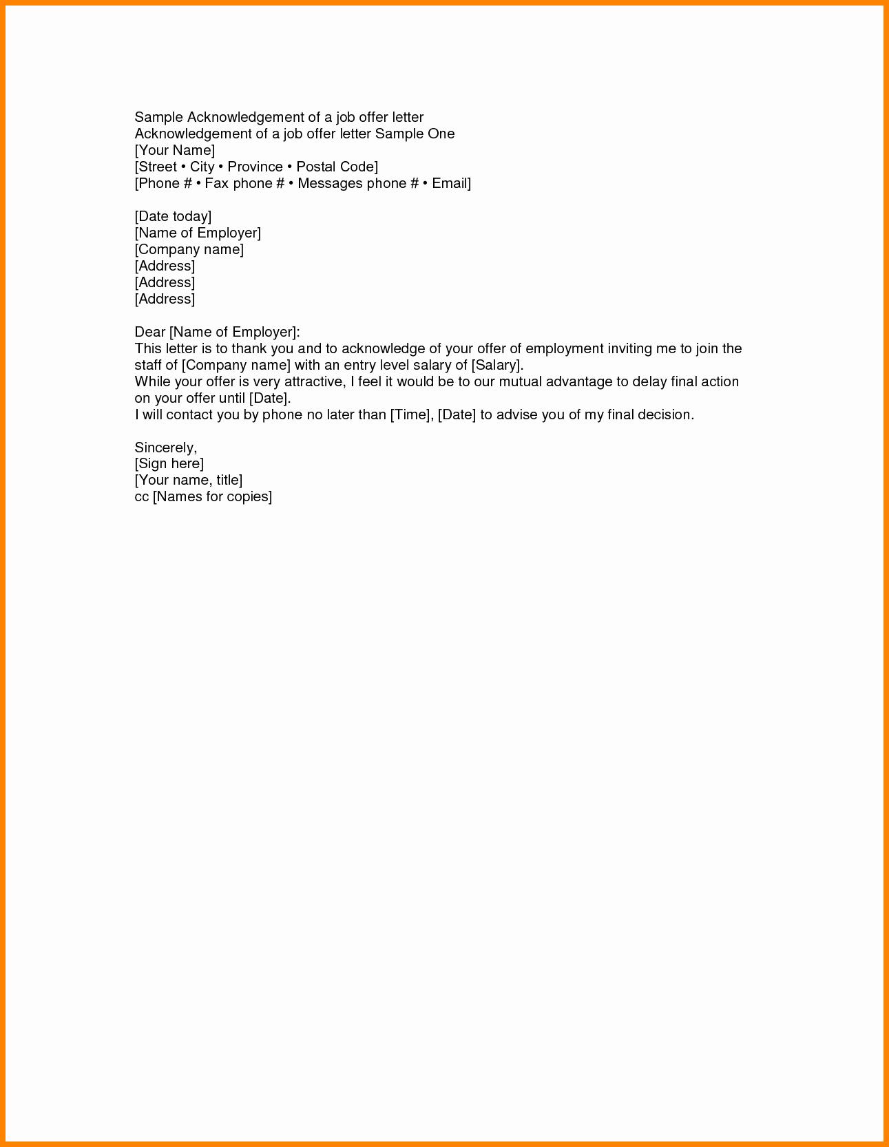 9 Job Offer Letter Acceptance Email Sample