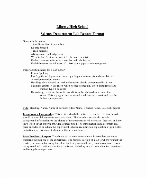 9 Lab Report Templates Free Sample Example format
